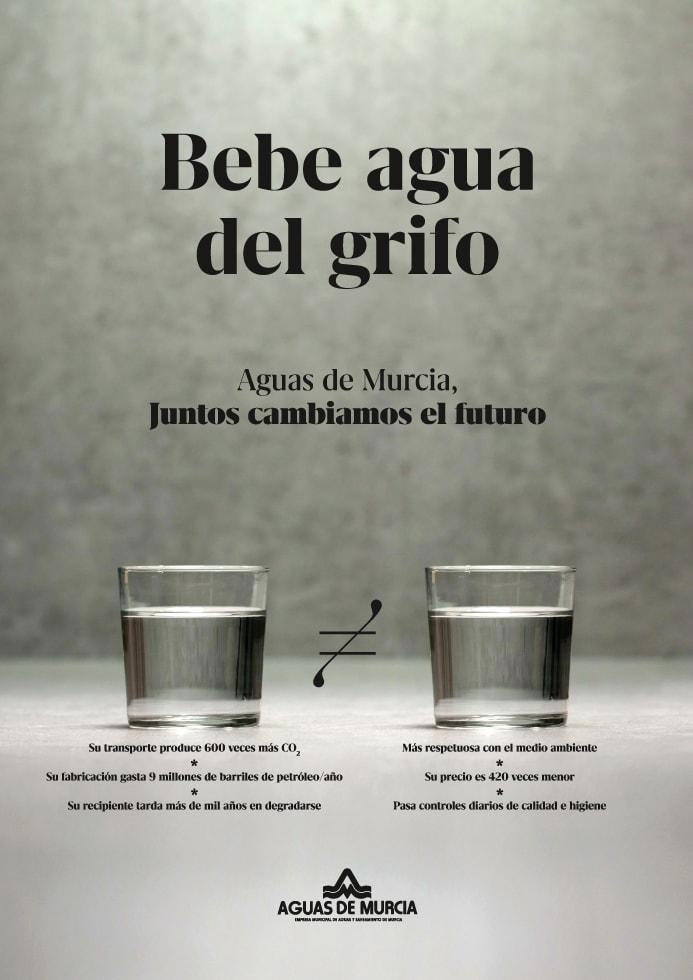 Cartel bebe agua del grifo Aguas de Murcia
